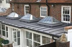 flat roof with lanterns