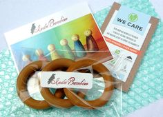 Wooden Teething Rings Organic Baby Teether lot by IndieBambinoToys