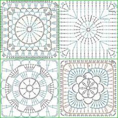 Motifs Granny Square, Granny Square Crochet Pattern, Crochet Diagram, Crochet Chart, Crochet Squares, Crochet Granny, Crochet Stitches, Granny Squares, Crochet Motif Patterns