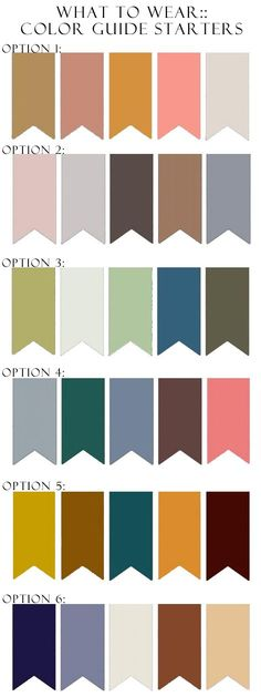 Family portrait color combos. I like options 3 and 4. color-guide-options.jpg (472×1259)