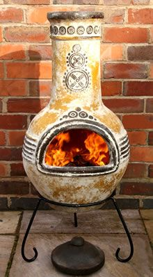 View the Large Azteca Yellow Mexican Clay Chimenea Fireplace with Free Cover and Lava Rock