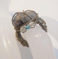 Vintage Brutalist Ring Brass Wire Stone/Rock Chunky 1970's Retro Sz 4 OOAK Boho! #Unbranded #Statement