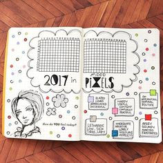 "Here's my take on the ""Year in Pixels"" idea that has been floating around! I hope I remember to fill it in each day. Credits: The lady is from a stamp set by Dina Wakley, the ""pixels"" font is a set by @studio_calico and I originally got this idea from @passioncarnets but I copied the mood definitions from a lady on PGW who's IG account I have yet to discover (working on it) #bujo #bulletjournal #journal #pgwbulletjournals #fauxjo #artjo #artjournal #bulletjournaljunkies #bujojunkies…"