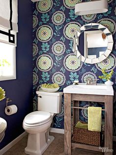Midnight Blue + Turquoise + Green Apple I love the accent wallpaper accent wall.