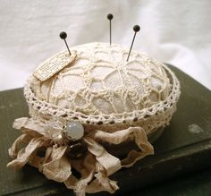 lace pincushion/dollies, shabby chic.