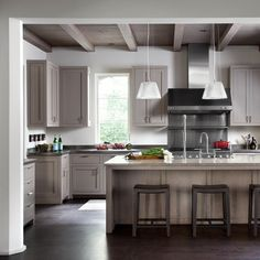 Rollingwood | Ryan Street & Associates; gray washed beams with gray kitchen