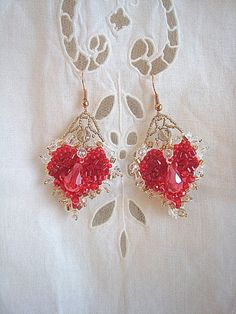 Embroidered Valentine Heart earrings