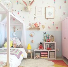 Set of 16 life sized ice-creams for your wall. So cute and fun, for any nursery or child's space! These bright, watercolour removable wall decals are easy to a Baby Bedroom, Girls Bedroom, Bedroom Decor, Bedroom Ideas, Ideas Dormitorios, Little Girl Rooms, Awesome Bedrooms, Fashion Room, Kid Spaces