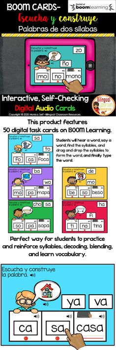 This Boom Deck has 50 paperless, NO PREP, drag and drop/type digital task cards WITH SOUND. This deck will allow your students to practice and reinforce syllables, decoding, blending and vocabulary. Students will practice forming two syllable words in Spanish. #syllablesactivitiesinSpanish #silabas #silabassimples #educacionprimaria #elementaryschool #primergradoprimaria #primergradoactividades #primergrado #syllablesactivities #syllablesinspanish #literacycenters #literacycentersinspanish Bilingual Classroom, Bilingual Education, Classroom Language, Classroom Resources, Teacher Resources, Best Language Learning Apps, English Games For Kids, Dual Language, Syllable