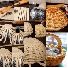 This idea is so fun ! I'd like to make a braided bread basket . To make this bread basket first you will knead a bread dough. After rise up, roll out with a rolling pin until get a large square 11 x 11 inch and thick.Cut the dough into strips — inch… Easter Recipes, Holiday Recipes, Holiday Meals, Bread Art, Braided Bread, Good Food, Yummy Food, Awesome Food, Creative Food