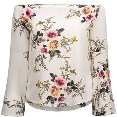 Off Shoulder Bell Sleeve Floral Print T Shirt (£11) ❤ liked on Polyvore featuring tops, t-shirts, rosegal, shirts, floral t shirt, bell sleeve shirt, pink floral shirt, pink tee and pink shirts
