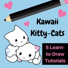 Tutorials to learn to draw kawaii cats in different styles. The step by step instructions make it easy for anyone to draw cute cats!