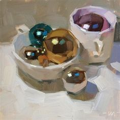 Cups and Shiny Balls by Carol Marine 12. This piece is asymetrically balanced. The border on the left being a little wider adds emphasis on the objects in the mugs towards the right.