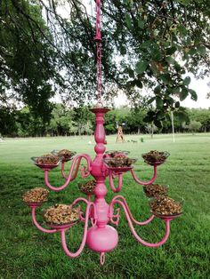 What a crazy cool idea! Will have to watch for an old chandelier for sale at a garage sale. Old Chandelier, Chandelier For Sale, Outdoor Chandelier, Glass Flowers, Spray Painting, Easy Projects, Yard Art, Suncatchers, Bird Houses