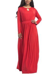Round Neck  Keyhole  Plain Evening Dress