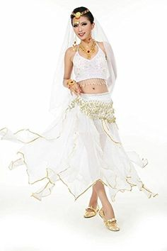 b53d55e431 Beverly Womens Spin Skirt Belly Dance Costume Set 8 Pieces white Gypsy  Costume, Lace Sweatshirt