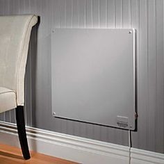 Wall Panel Convection Heater uses just 400 watts, saving you energy and money. Using quiet convection heating, this space-saving flat panel wall heater creates a circulation of warm air sufficient to heat a 10' x 12' room. No exposed elements, help prevent the collection of dust. It hangs on the wall, so it's out of the way of children and pets. It won't overheat -- the maximum surface temperature will reach 165 - 195 degrees. You can even paint it to match your decor.