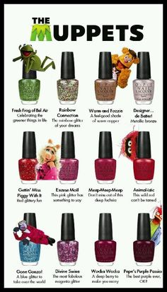 OPI Muppets nail polish collection – Christmas 2011 ~want these sooooooo bad! Opi Nail Polish, Opi Nails, Nail Polishes, Shellac, Mani Pedi, Manicure And Pedicure, Cute Nails, Pretty Nails, Essie