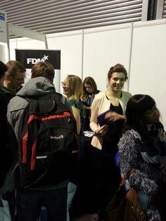 GradIreland careers fair - our latest student brand ambassador Emma and graduate recruiter Katherine talking to students and graduates