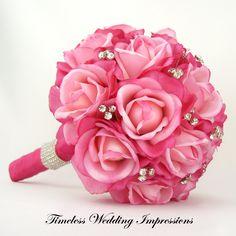 hot pink roses wedding bouquet | Wedding Bouquets | Pinterest ...