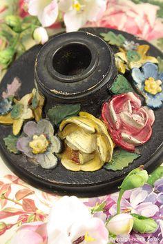 Vintage Home - Lovely Old Chippy Barbola Candle Holder: www.vintage-home.co.uk