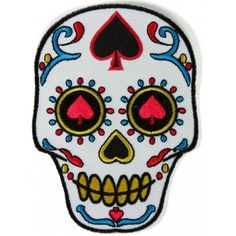 2.9x4 inchIron on or Sew on ApplicationPlastic Backing & Die Cut BordersEmbroidered Patch Biker Patches, Skull Patches, Iron On Patches, Black White Pink, Pink Yellow, Clothing Patches, Leather Vest, Sugar Skull, Embroidery