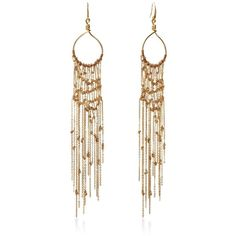 DIANE VON FURSTENBERG Thea Mesh Dream Catcher Chandelier Earring ($128) ❤ liked on Polyvore featuring jewelry, earrings, accessories, gold, chandelier earrings, diane von furstenberg, boho jewelry, bohemian style earrings and braid jewelry