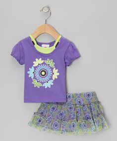 Take a look at this Purple Layered Top & Green Floral Skirt - Infant, Toddler & Girls by 2B Real on #zulily today!