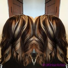 Blonde highlights and rich chocolate brown color using the pinwheel technique.