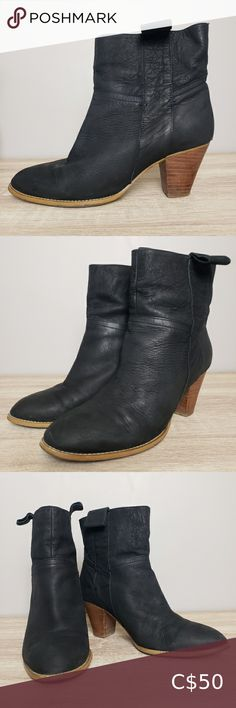 Tony Bianco Virginia Ankle Boots size 10 Tony Bianco Virginia Ankle Boots Size 10 Pull on style with sturdy wood grain look stacked heel. Super soft leather upper with leather loop pull on tabs on either side. Comfortable enough for daily wear..... Chic enough for a fashion statement. All wear shown in photos. Heel scuffs, worn sole. *discoloration in the heel is from me wiping down with a damp cloth before photos. Not stained EUC- excellent used condition, worn but still lots of life left… Black Leather Ankle Boots, White Boots, Leather Booties, Ankle Booties, Bootie Boots, Studded Leather, Soft Leather, Tony Bianco Boots, Croc Heels