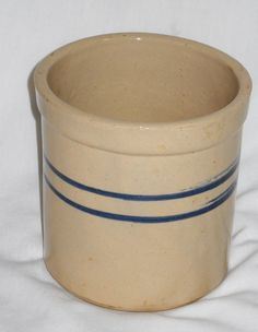 Kitchen crock for utensils with blue bands