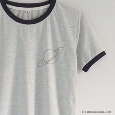 Saturn Ringer Tee $13.99 ; Saturn  Shirt ; Graphic ; #Tumblr ; #Hipster Teen Fashion KISSMEBANGBANG.COM