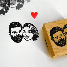 Self inking stamp / custom couple portrait / wood by lilimandrill