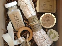 Baby Bath Gift Set - All natural organic baby soap, baby powder, baby balm, cotton washcloth & wooden teether. $35.00, via Treefort Naturals on Etsy.