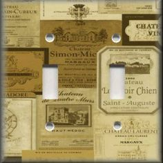 Light Switch Plate Cover - Kitchen Decor - Vintage French Wine Labels