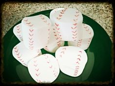 Baseball marshmallows for a birthday party treat! See more party ideas at CatchMyParty.com!