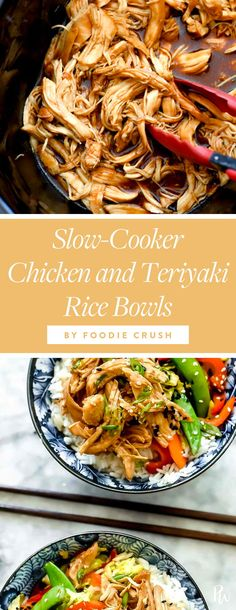 Slow-cooker teriyaki chicken rice bowls by Foodie Crush. 15 Clean-Eating Stir-Fry Recipes to Make for Dinner Tonight #purewow #dinner #easy #food #recipe #healthyrecipes #healthymeals #stirfry #cleaneating #cleaneatingrecipes #stirfryrecipes #eatclean #teriyaki #slowcookerrecipes