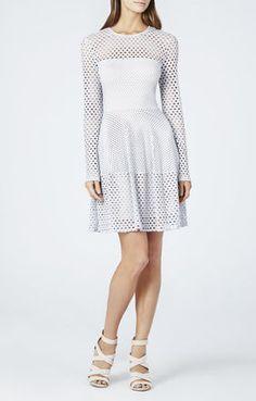 White Eyelet Cutout Kyla A-Line Long Sleeve Flare Dress @ BCBG $200