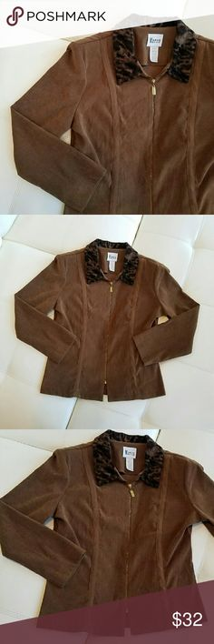 """{Vintage} Suede* Jacket w/ Leopard Print Collar Vintage *suede-feel jacket. Brown, with a black / tan  leopard print accent collar. This soft blazer is cozy and perfect for the office, or night out with the ladies. EUC vintage piece in beautiful condition. (Gold zipper has scratches.)  Size: Fits like a M-L (tag says 16, but vintage sizing -- see measurements) Bust: 20.5"""" across, laying flat Waist: 17.5"""" across, laying flat Sleeves: 22.5"""" from seam to hem  Offers welcome. 20% bundle…"""
