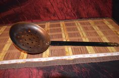 Large Copper Kitchen Tool Hanging Skimmer or Strainer with Steel Handle 16 1/2""