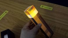 """DIY Minecraft torch craft with flameless flickering tea light """"candle"""" inside Minecraft Crafts, Video Minecraft, Minecraft Room, Minecraft Furniture, Minecraft Skins, Minecraft Buildings, Minecraft Architecture, Minecraft Projects, Minecraft Stuff"""