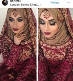 Inspiring Wedding Make Up Ideas with Arabic Style - Zine 365 Bridal Hijab Styles, Muslim Brides, Pakistani Wedding Outfits, Pakistani Wedding Dresses, Pakistani Bridal Wear, Bridal Outfits, Bridal Dupatta, Pakistan Wedding, Asian Bridal