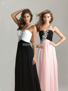 Wholesale Prom Dresses - Buy Demure Exquisite Sweetheart One Shoulder Beaded Belt Floor Length Ruffles Chiffon Black And Turquoise Pink White Evening Gowns Prom Dresses, $78.29 | DHgate
