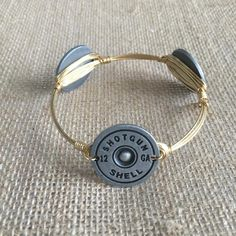 Bourbon and Boweties Silver Stamped Shotgun Shell Large Wrist