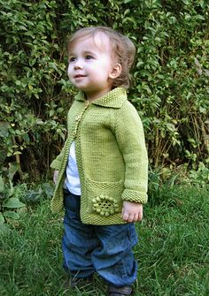 I have an active toddler who wants to examine everywhere and everything, and with the arrival of Spring and warmer weather there's a whole world to explore outside. I wanted to knit a jacket that would keep an active little girl warm without being restrictive. I like the style of traditional, a-line matinee jacket patterns, but chose a cheerful, Spring-like green cotton yarn for a less frilly version.. The large pockets are ideal for stashing away treasures found while on a big outdoors…