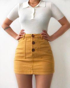 Yellow mini skirt white polo t-shirt - ChicLadies. Teen Fashion Outfits, Retro Outfits, Mode Outfits, Girly Outfits, Cute Casual Outfits, Skirt Outfits, Cute Fashion, Outfits For Teens, Stylish Outfits