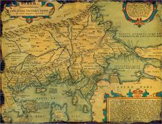 Old, historical map of ancient Thrace, mostly in Latin and very few Greek, made in 1585. The map also shows part of Asia minor, Moesia inferior,  ancient Greece along with some Aegan islands. There is some anachronism on the map, such as Moesia inferior and other features.1585