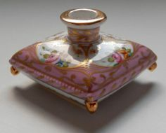 ANTIQUE FRENCH HAND PAINTED OLD PARIS PORCELAIN CANDLE HOLDER