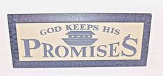 P Graham Dunn Carved Calligraphy Wooden Sign God Keeps His Promises #PGrahamDunn