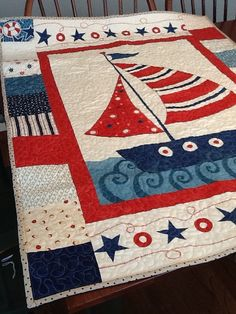 sailing quilt patterns | Nautical Boat Quilt, Sailing Ship Baby Quilt in Blue and Red, Nautical ...